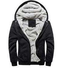Mens Fleece Lined Jacket Coat Hooded Baseball Sports Outwear Black size S 2