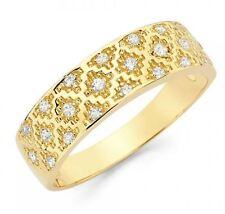 Men's 14k Solid Yellow Gold Diamante Pattern Designer Band Ring