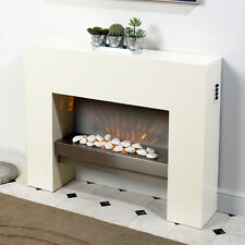 Fire Fireplace Living Room White Free Standing Flicker Flame Heater Mantelpiece