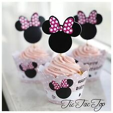 12x Minnie Mouse Cupcake Toppers + Wrappers. Party Supplies Lolly Loot Bag