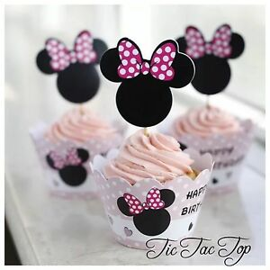 ***^ SOLD OUT ^***12x Minnie Mouse Cupcake Toppers + Wrappers. Party Lolly Bag
