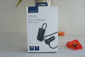 NEW Insignia 4-Port Smart Charging Car Charger 38 Watts 5 FT Cable NS-MDC8U4N