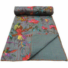 INDIAN GREY BIRD PRINT KANTHA QUILT Queen SIZE  BEDDING BLANKET BEDSPREAD THROW