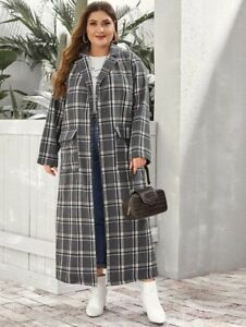 💥NEW💥Plus Size 3xl = 22-24+ Grey Notch Collar Flap Pocket Plaid Coat by SHEIN