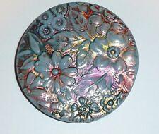"Beautiful Hand Painted Asst Colors Flower Floral Art Stone Shank Button  2-1/4"""