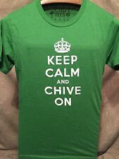 Keep Calm And Chive On Authentic Green~ Men Unisex Size Small T- Shirt