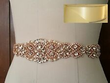 "Wedding Sash Belt - Rose Gold Crystal Pearl Sash Belt = 14 1/2"" long = IVORY"