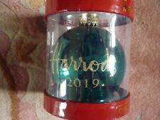HARRODS 2019 CHRISTMAS BAUBLE GREEN DATED BRAND NEW