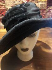 Apariencia Vintage Lana Color Negro Rosa Fieltro Campana Borde Ancho Antiguo d1b9af295f8
