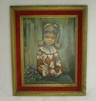 Big Eyed Girl 1960's Decor VTG Eden Print Harlequin Blond w/ Red & Gold Frame