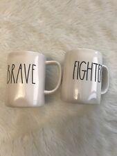 New Rae Dunn Collection Mug Set Fighter & Brave