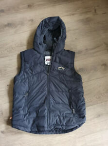 Mens Superdry Dark Grey Sleeveless Jacket Bodywarmer Gilet Size XL