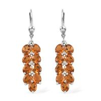 925 Sterling Silver Platinum Over Citrine Zircon Earrings Jewelry for Women Ct 6