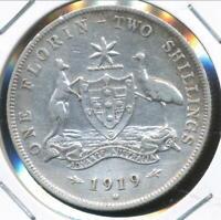 Australia, 1919(m) Florin, 2/-, George V (Silver) - Very Fine