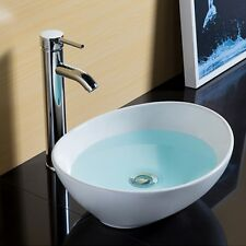 Ceramic Wash Basin Bathroom Sink Bowl Glossy Above Counter Top Vanity Oval AU
