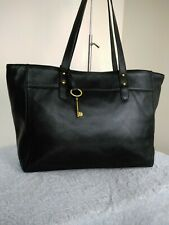 Fossil Authentic Cow Hide Leather Black Large Tote Grab Shoulder Hand Bag N33