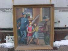 Large WPA Era Oil Painting Policeman Dancing Girls Man Hurdy Gurdy by W G Smith