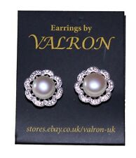 Silver Pearl Stud Earring With Cubic Zirconia Flower and Sterling Silver Setting
