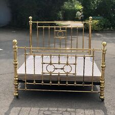 More details for brass double bed. cast iron base on castors, has 4ft-6 base.