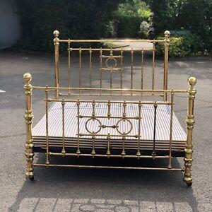 Brass Double Bed. Cast iron Base On Castors, Has 4ft-6 Base.