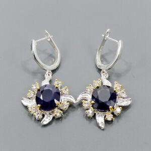Vintage SET Blue Sapphire Earrings Silver 925 Sterling   /E55346