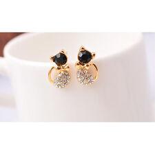 1 Paar Feminin Gold beschichtet Ohrstecker mit Strass nett Kätzchen Form Ohrring