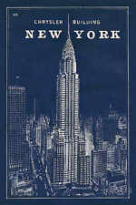 Blueprint Map New York Chrysler Building Sue Schlabach City Print Poster 24x36