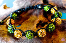 10mm Shamballa bracelet green and yellow rhinestones with hematite