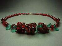 Fabulous Vintage Bohemian Art Deco Style Red Glass Floral Necklace