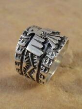 Sunshine Reeves Navajo Sterling Silver Thunderbird Cigar Band Ring  sz 9 1/2