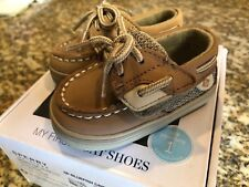 Sperry Top-Sider Bluefish My First Boat Shoes Size 1M Tan-Sand NEW IN BOX