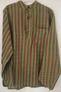 Fair Trade Green/Brown Striped Shirt Gents'