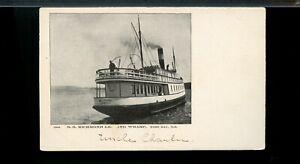Nice S.S. RICHMOND leaving Wharf, WEST BAY, NS,  unused post card Canada