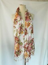 Urban Outfitters Floral Print Rayon Fringe Spring Scarf Madewell