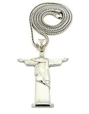 MENS HIP HOP RAPPER STYLE LARGE CROSS THE REDEEMER PENDANT FRANCO CHAIN NECKLACE