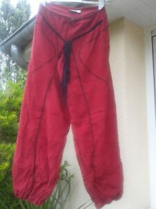 Sarouel  velours rouge fonçé et noir -