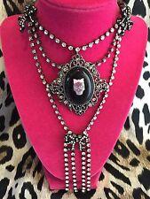 Betsey Johnson Vintage Girl Skull Bow Cameo Vicki Victorian Bow Necklace RARE