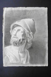 FRENCH NEOCLASSICAL SCHOOL CA. 1800 - STUDY CLASSICAL BUST - AJAX - CHARCOAL