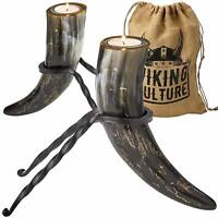 Viking Culture Horn Tealight Candle Holder Set with Wrought Iron Stands