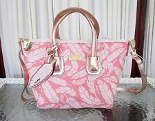 Luv Betsey Johnson Feather dome Satchel Crossbody Bag Pink White Rose Gold NWT