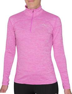 More Mile Quarter Zip Girls Long Sleeve Training Top - Pink