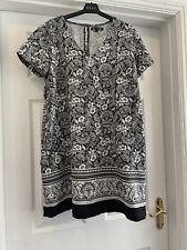 Next Ladies Linen Dress Size 14 Petite Black And White