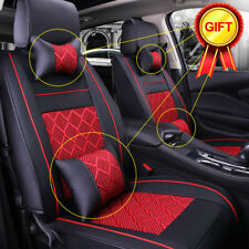 AU 5-Seats Car Seat Cover PU Leather Front+Rear Pillows Cushion Black/Red