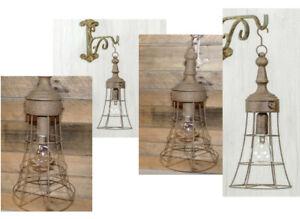 Peyton Rustic Metal Hanging Lantern Lamp Light Caged LED Lantern 6Hour Timer NEW