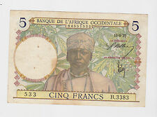 Afrique Occidentale - french west africa, 5 Francs, 1937