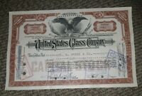 STOCK CERTIFICATE 4 Shares US UNITED STATES GLASS COMPANY CO Pennsylvania OLD!