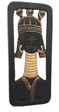 Wood Carve Small Panel Black Wall Hanging Home Asian Gift Long Neck Tribe Lady