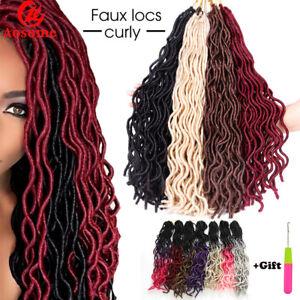 "20"" Synthetic Curly Faux Locs Soft Crochet Twist Dreadlocks Braid Hair Extension"
