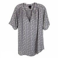 Worthingron Striped Polka Dot V Neck Short Sleeve Blouse Womens Size Large L Top