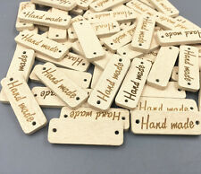100pcs Wood color Wooden 'Hand made' Lettering 2-hole sewing Scrapbooking 30mm
